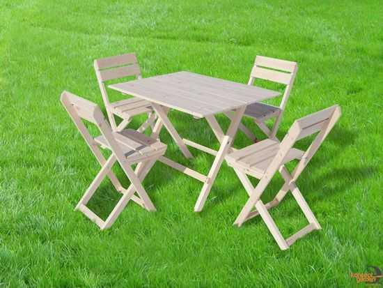 """Набор складной """"Пикник"""" (стол + 4 стульчика, дерево) фото"""