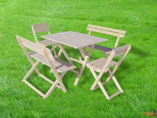 """Набор складной """"Отдых"""" (стол + 2 стула, 2 лавочки, дерево) фото"""