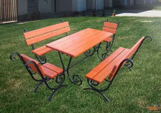 "Садовый набор ""Ажур"" (стол+2 стула+2 лавки) СН-6 фото"