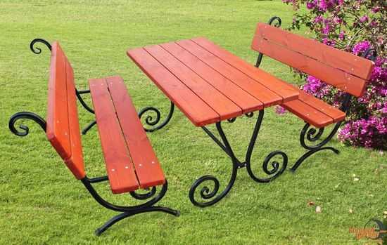 "Садовый набор ""Ажур"" (2 лавочки+стол) СН-5 фото"