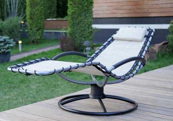 Кресло-шезлонг качалка ФЛЭТ на пружинной круглой подставке фото