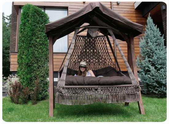 Фото №13 Подвесное кресло качели SEARA в комплекте с подушками (без каркаса)