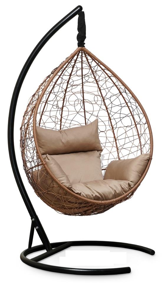 Фото №6 Подвесное кресло-кокон SEVILLA горячий шоколад + каркас