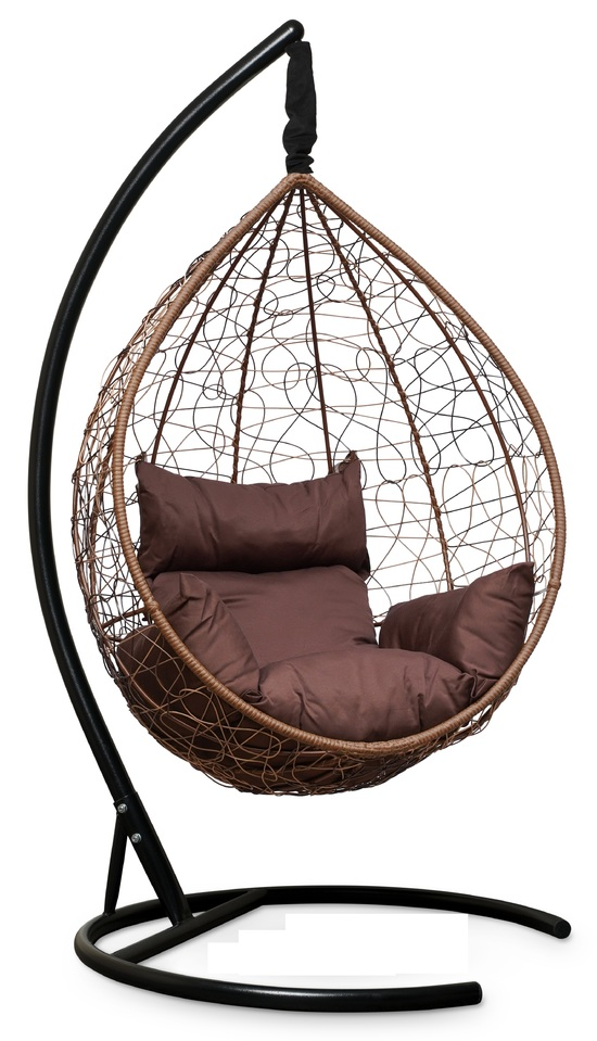 Фото №5 Подвесное кресло-кокон SEVILLA горячий шоколад + каркас