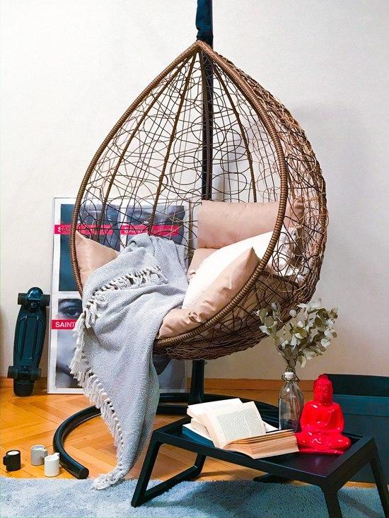 Фото №3 Подвесное кресло-кокон SEVILLA горячий шоколад + каркас