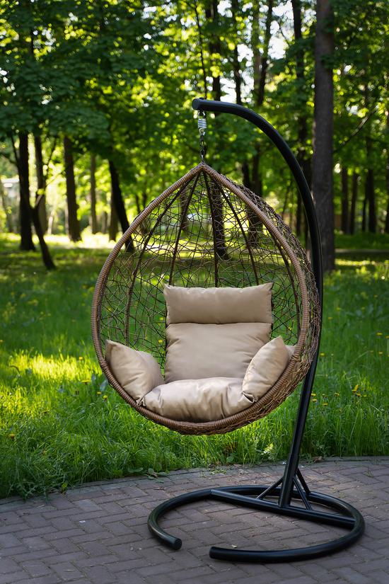Фото №14 Подвесное кресло-кокон SEVILLA горячий шоколад + каркас