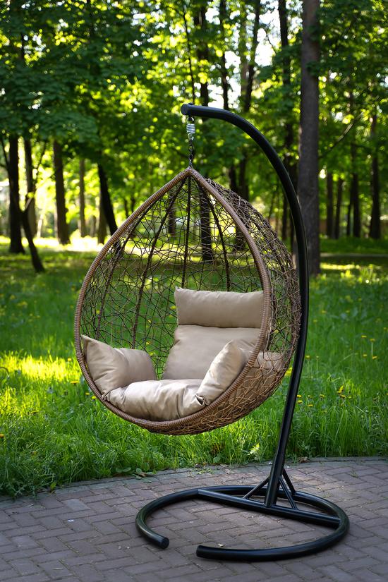 Фото №13 Подвесное кресло-кокон SEVILLA горячий шоколад + каркас