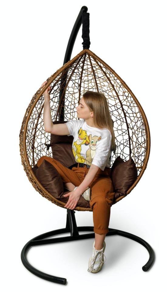 Фото №8 Подвесное кресло-кокон SEVILLA горячий шоколад + каркас