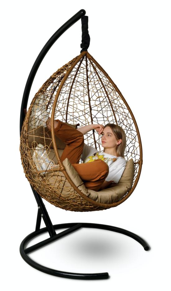 Фото №9 Подвесное кресло-кокон SEVILLA горячий шоколад + каркас