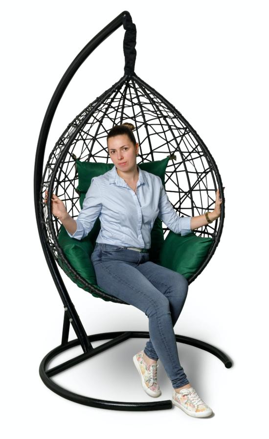 Фото №3 Подвесное кресло-кокон ALICANTE черное + каркас