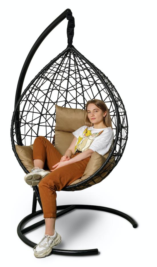 Фото №4 Подвесное кресло-кокон ALICANTE черное + каркас
