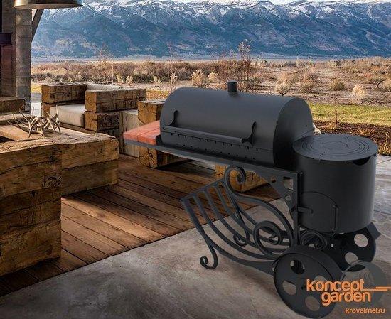 Мангал-коптильня МК-13 с печью для казана фото