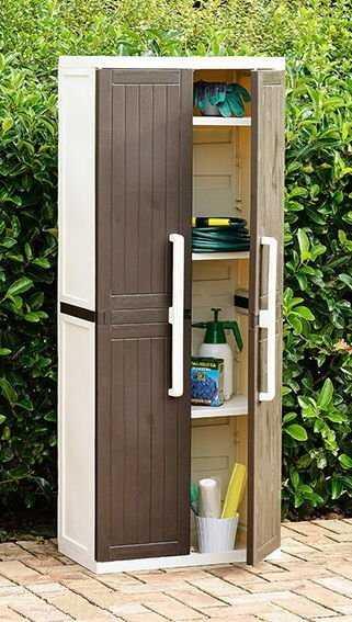 Пластиковый шкаф 2-х дверный с 4 полками фото