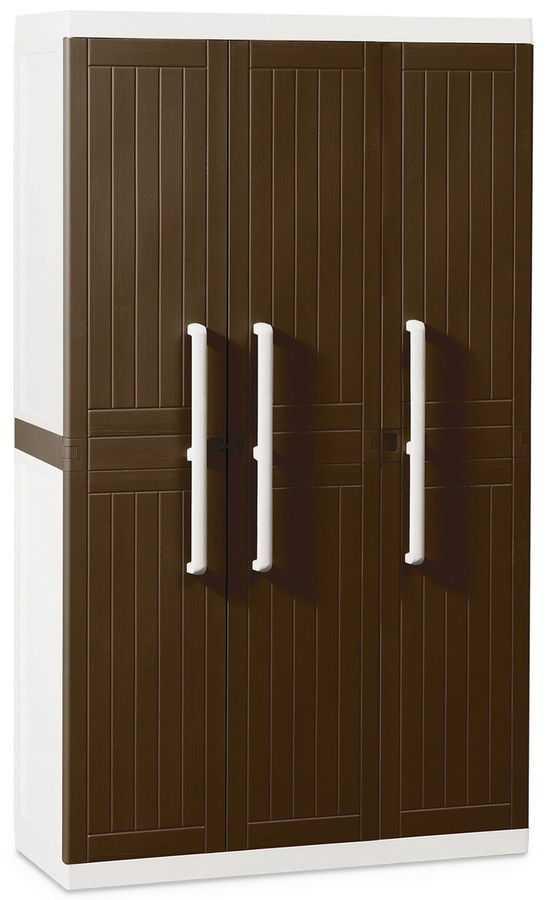 Пластиковые шкаф 3-х дверный с 4 полками фото