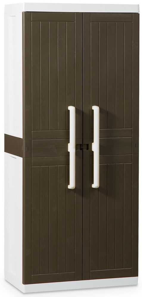 Пластиковый шкаф (глубокий) 2-х дверный с 4 полками фото