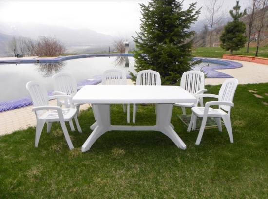 Обеденный комплект стол + 6 кресел (пластик) фото