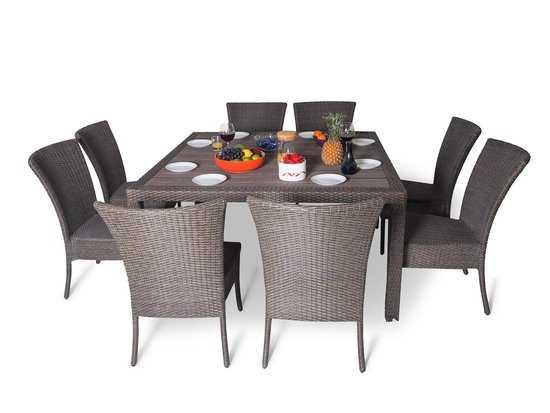 Обеденный комплект со стульями на 8 человек (квадратный стол) фото