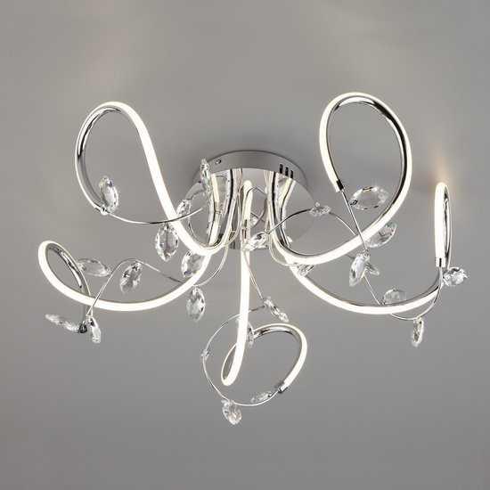 Светодиодный потолочный светильник с хрусталем 90106/5 хром фото
