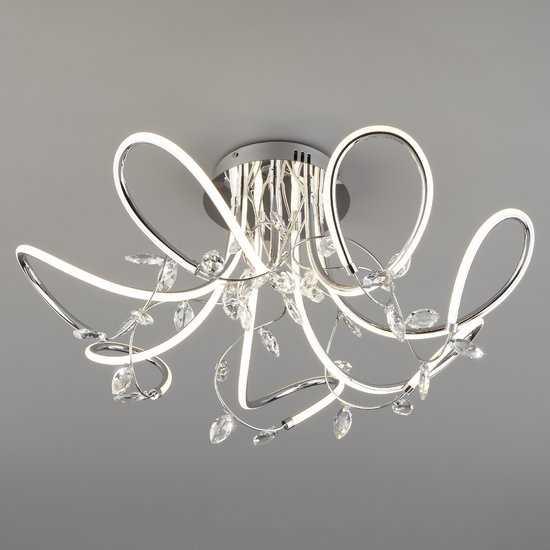 Светодиодный потолочный светильник с хрусталем 90106/7 хром фото