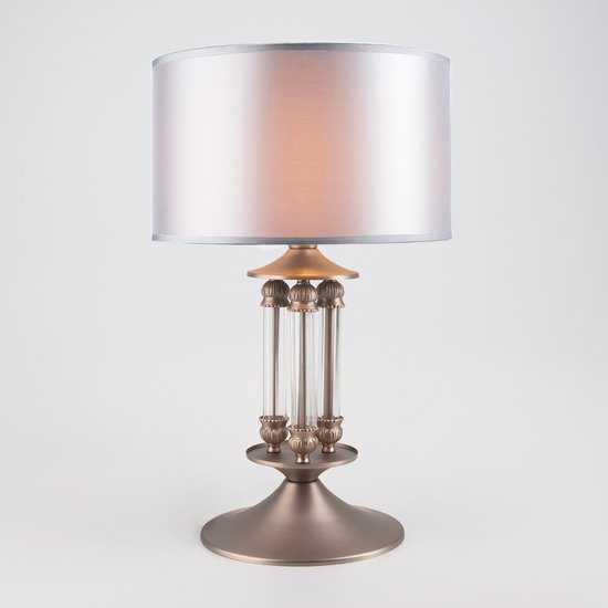Фото №2 Классическая настольная лампа с абажуром 01045/1 сатин-никель