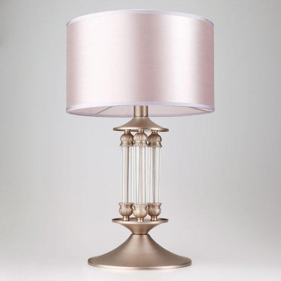 Фото №3 Классическая настольная лампа с абажуром 01045/1 сатин-никель