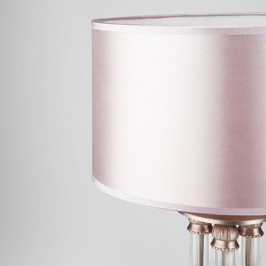 Фото №4 Классическая настольная лампа с абажуром 01045/1 сатин-никель
