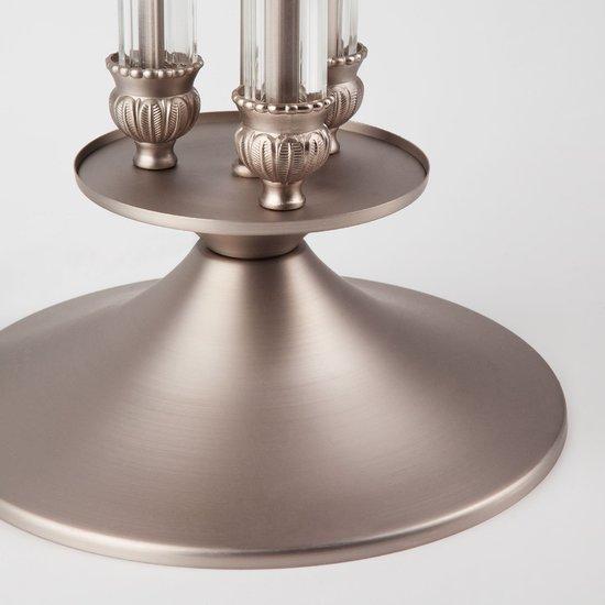 Фото №5 Классическая настольная лампа с абажуром 01045/1 сатин-никель