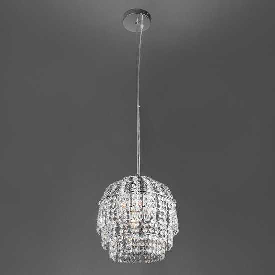 Подвесной светильник с хрусталем 10091/1 хром/прозрачный хрусталь Strotskis фото