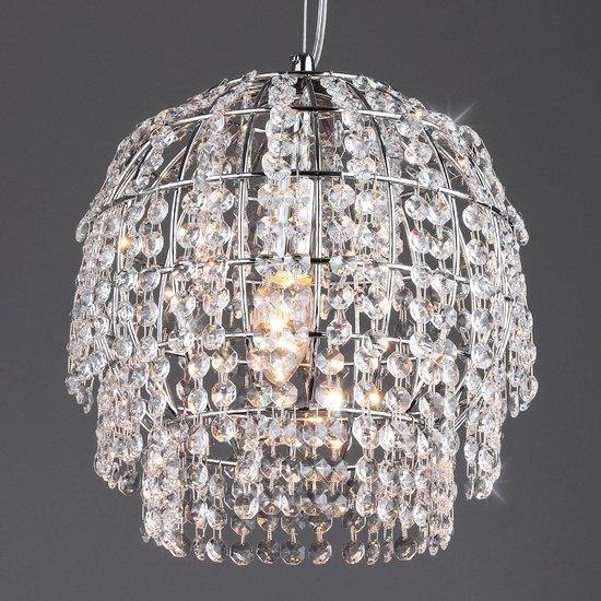 Фото №3 Подвесной светильник с хрусталем 10091/1 хром/прозрачный хрусталь Strotskis