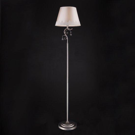 Фото №3 Классический торшер с абажуром 01023/1 серебро