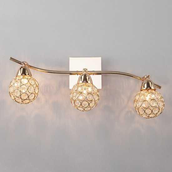 Фото №2 Настенный светильник с хрусталем 20042/3 золото