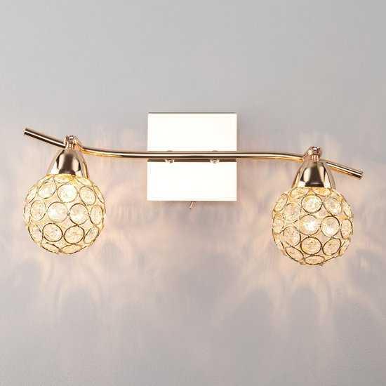 Настенный светильник с хрусталем 20042/2 золото фото