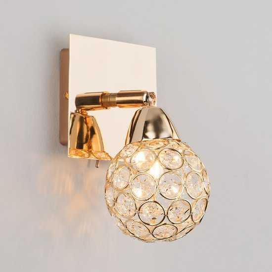Фото №2 Настенный светильник с хрусталем 20042/1 золото