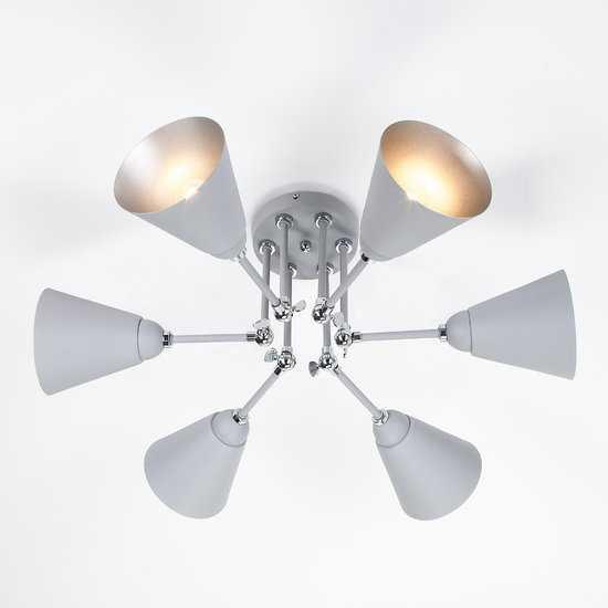 Потолочный светильник с поворотными рожками 70052/6 серый/серебро фото