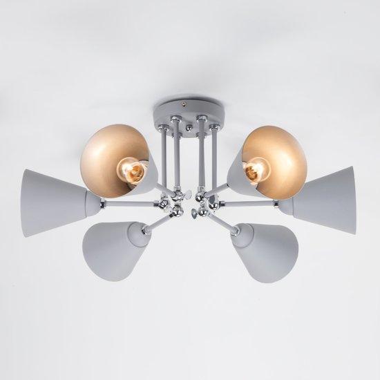 Фото №5 Потолочный светильник с поворотными рожками 70052/6 серый/серебро