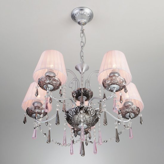 Фото №3 Подвесная люстра с хрусталем 10086/5 серебро/дымчатый хрусталь Strotskis