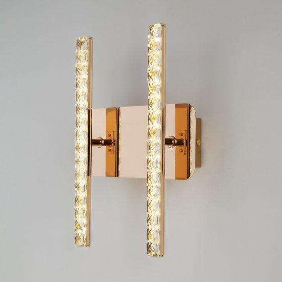Фото №3 Светодиодный настенный светильник с хрусталем 90041/2 золото