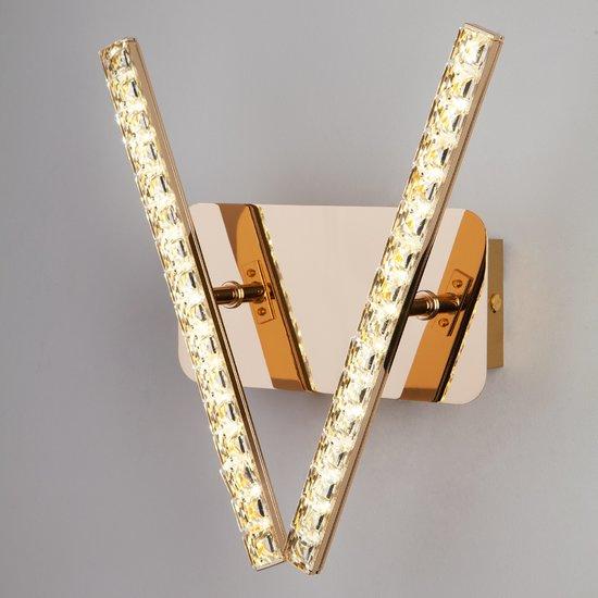 Фото №4 Светодиодный настенный светильник с хрусталем 90041/2 золото