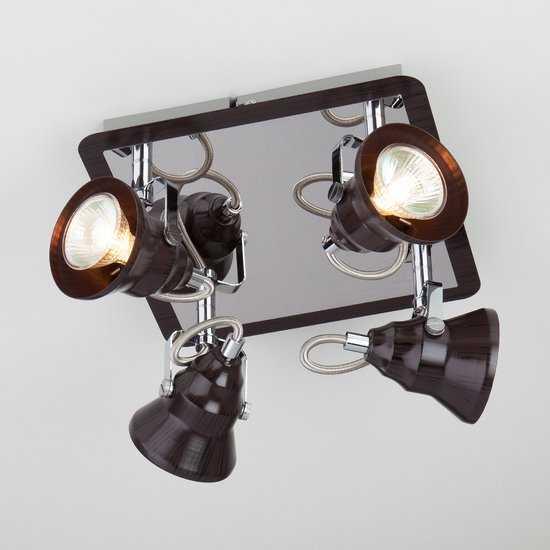 Фото №2 Потолочный светильник с поворотными плафонами 20062/4 хром/венге
