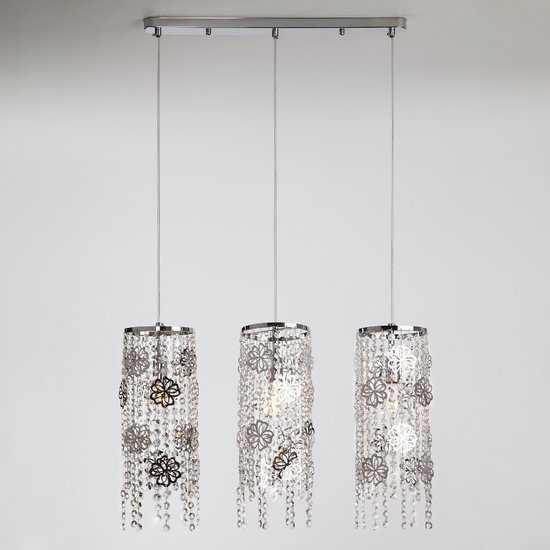 Подвесной светильник с хрусталем 10083/3 хром / прозрачный хрусталь фото