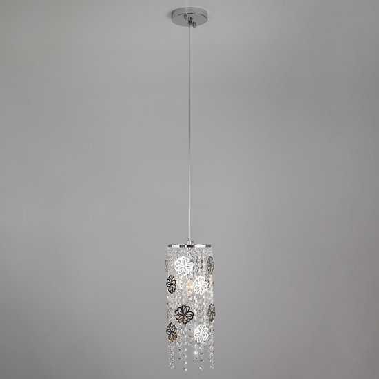 Подвесной светильник с хрусталем 10083/1 хром / прозрачный хрусталь фото