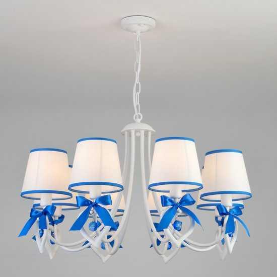 Подвесная люстра с абажурами 60066/8 белый/синий фото