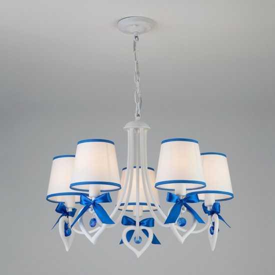 Подвесная люстра с абажурами 60066/5 белый/синий фото