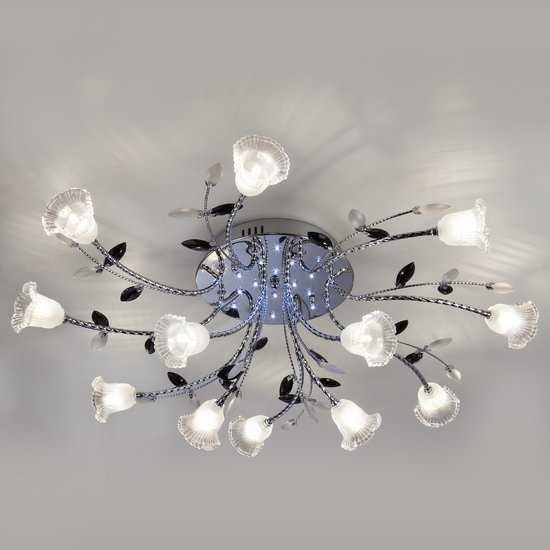 Фото №2 Люстра потолочная со светодиодной подсветкой 80114/12 хром/белый
