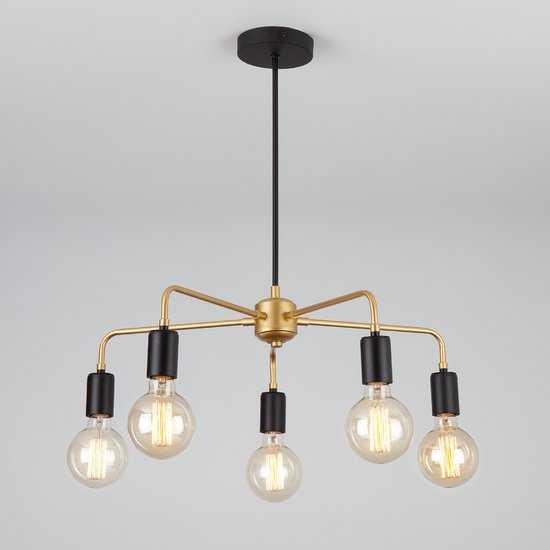 Фото №2 Подвесной светильник в стиле лофт 70053/5 черный/золото