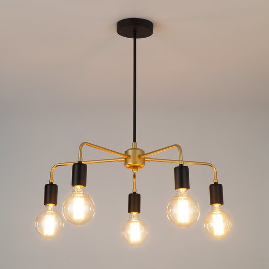 Фото №3 Подвесной светильник в стиле лофт 70053/5 черный/золото