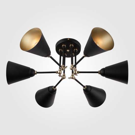 Потолочный светильник с поворотными рожками 70052/6 черный/золото фото