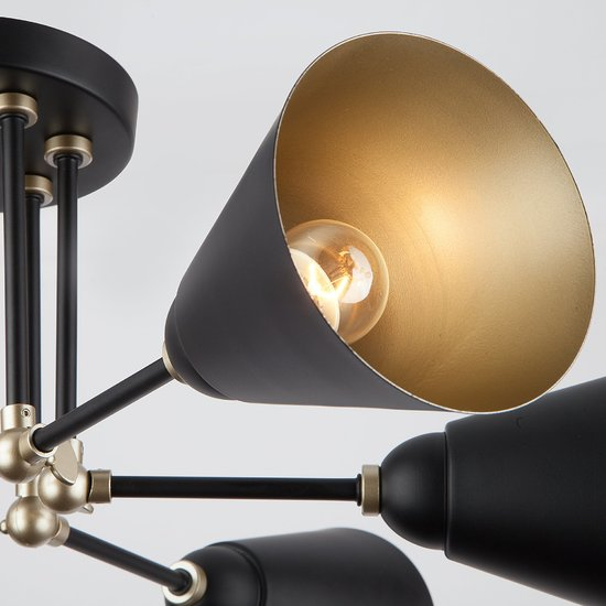 Фото №7 Потолочный светильник с поворотными рожками 70052/6 черный/золото