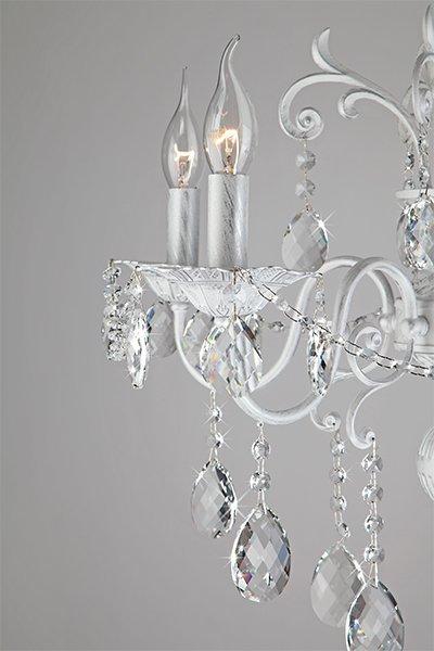 Фото №6 Люстра с хрусталем 10064/5 белый с серебром