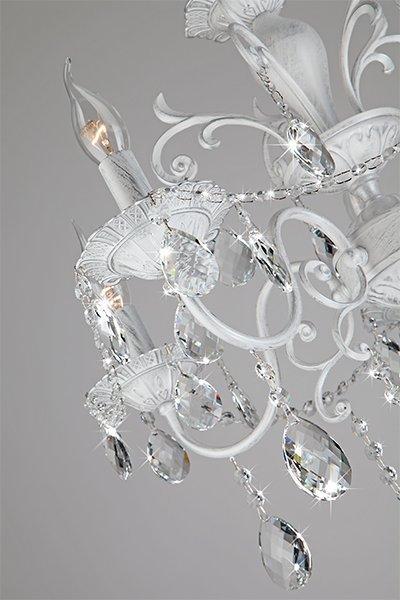 Фото №7 Люстра с хрусталем 10064/5 белый с серебром